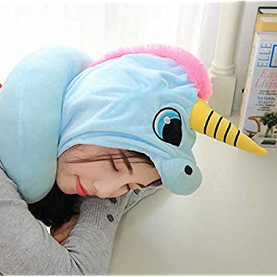 KIKIGOAL Unicorn Hooded Animal Travel Neck Pillow Polyester Neck Pillow Support Cushion Unicorn Hoodie Funny Gifts for Children and Women (Purple): Home & Kitchen