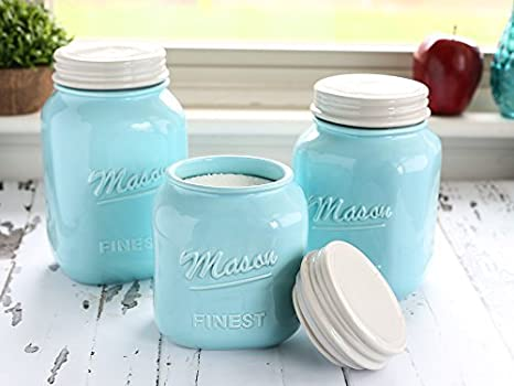 Mason Jar Kitchen Canister Set - Set of 3 Kitchen Canisters - Large, Round Ceramic Sets for Vintage, Rustic, or Farmhouse Look - Storage for Flour, Sugar, Tea, Coffee and More (Blue) Sparrow Decor