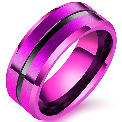 Mens 8mm Stainless Steel Channel Set Black Line Purple Ring Wedding Engagement Matte Finish Band Size 10