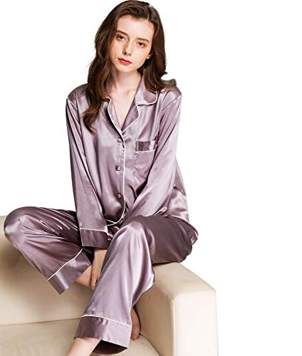 (Womens Silk Satin Pajamas Set Gray XS)