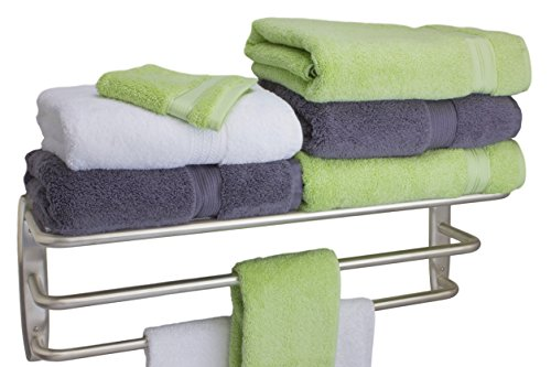 Fpl Oversized 28 Inch Stainless Steel Hotel Towel Rack   Shelf In Brushed Stainless Steel Finish
