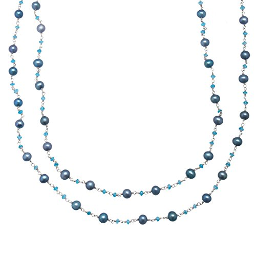 Honora 5.5-6 mm Teal Freshwater Cultured Pearl and Apatite Bead Necklace in Sterling Silver