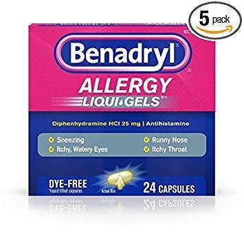 Benadryl Allergy Liqui-Gels Dye-Free - 24 ct, Pack of 5