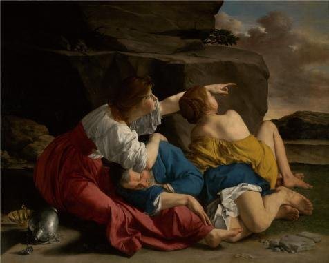 Oil Painting 'Lot And His Daughters, About 1622 By Orazio Gentileschi' 18 x 22 inch / 46 x 57 cm , on High Definition HD canvas prints is for Gifts And Hallway, Kids Room And Laundry Room decor, pop