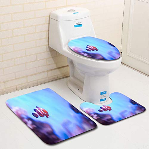 - MTSJTliangwan Home Bathroom 3 Piece Sets, Included Bath Area Rug+Contour Mat+Lid Toilet Seat Cover Finding Nemo, Amphiprion Ocellaris Clownfish in Marine Aquarium Flannel Carpet