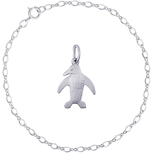 Rembrandt Charms Sterling Silver Penguin Charm on a Classic Link Bracelet, (Arctic Ice Collection)
