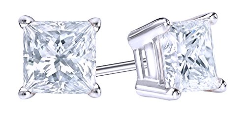 Mothers Day Jewelry Gifts Princess Cut Simulated White Sapphire Solitaire Stud Earrings In 14K Solid White Gold