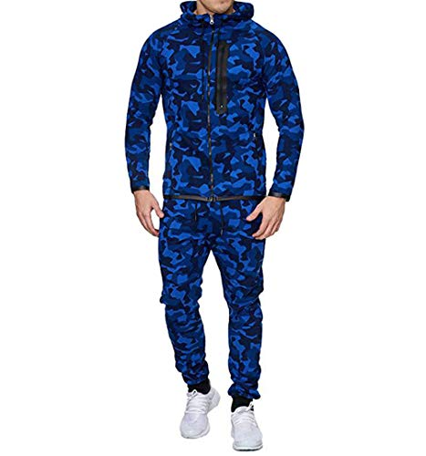 Men's Tracksuit Set Camouflage Sweatshirt Jogger Sweatpants Solid Patchwork Warm Sports Suit