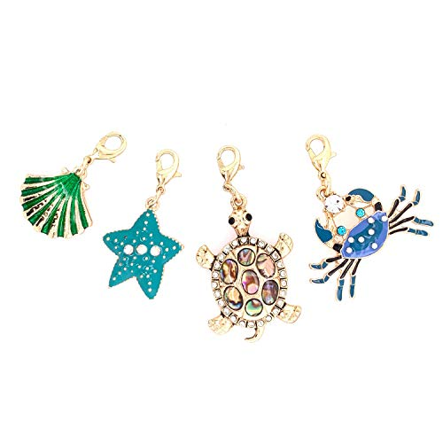 Jewelry Made By Me Coastal Sea Life Shell, Starfish, Crab, Sea Turtle Charms 4pc