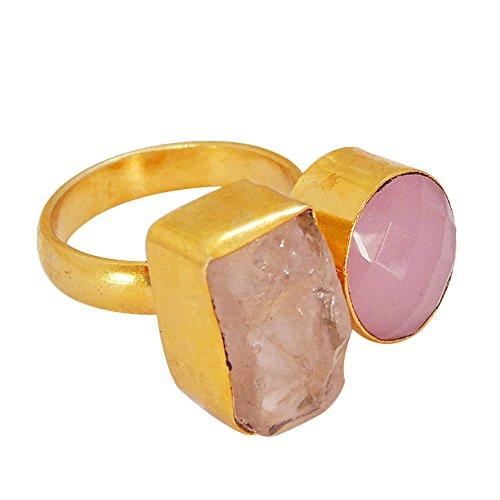 Bhagat Jewels Designer 18k Gold Vermeil Rough Pink Quartz Birthstone Adjustable Ring