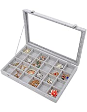 Stylifing Clear Lid Velvet 24 Grid Jewelry Tray Stackable Display Showcase Lockable Organizer Box for Girls Women ¡, 24 Grids, 24 Grid Tray