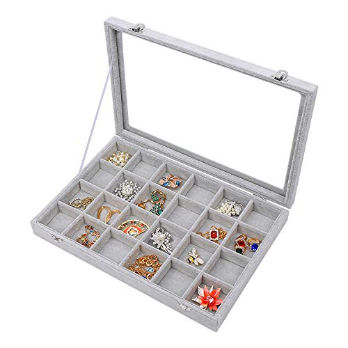 STYLIFING Clear Lid Velvet 24 Grid Jewelry Tray Transparent Jewelry Display Showcase Lockable Felt Jewelry Storage Organizer Charm Box Holder Gift for Girls Women