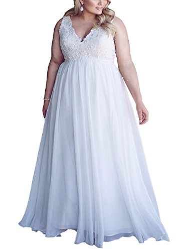Mulanbridal Chiffon Applique Beach Wedding Dress Long Formal Prom Evening Gown White 28W (Size 28 White Wedding Dress)