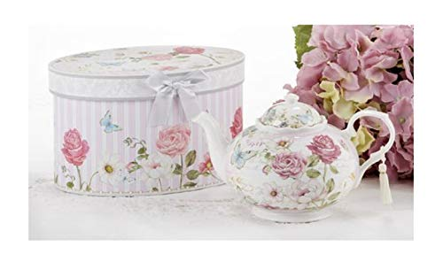 (Delton Products Pink Grace Pattern Porcelain Teapot with Matching Keepsake Box)