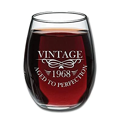 50th Birthday 15oz Stemless Wine Glass- Vintage Aged To Perfection 1968 - Unique Anniversary Gift Idea for Best Friend, Mom, Dad, Wife, Husband, Sister, Women, Men - Perfect Gifts from Son or Daughter