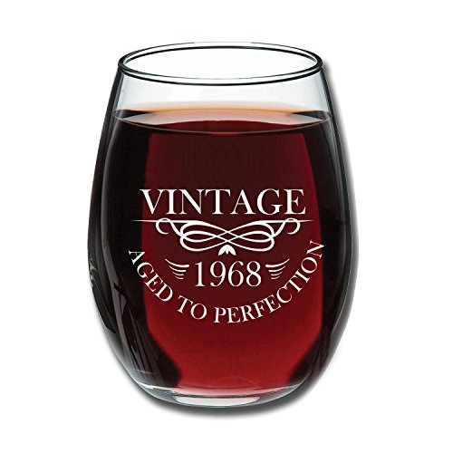 1968 50th Birthday 15 oz Stemless Wine Glass | Unique 50th Wedding Anniversary Gift Idea for Mom, Dad, Parents or Couple | 50 Year Old Gifts for Wife, Husband, Him, Her | Vintage Aged To Perfection (50 Birthday Gifts For Women)