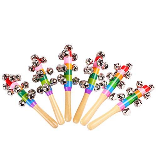 (6 Pack Wooden Jingle Hand Bells,Rainbow Handle Wooden Bells Jingle Stick Shaker Rattle Baby Kids Children Musical Toys)