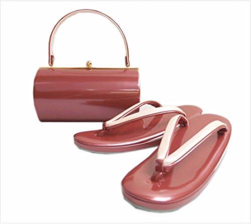 エナメル草履バッグセット横丸型ピンク色(薄ピンク)大きいサイズLL 振袖&袴・着物 日本製
