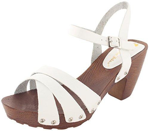 Enimay Women's 3 Inch Chunky Low Heel Open Toe Buckle Ankle Strap Dress Sandals White 10