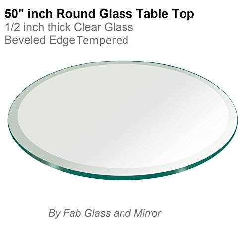 50'' Inch Round Glass Table Top 1/2'' Thick Tempered Beveled Edge by Fab Glass and Mirror by Fab Glass and Mirror