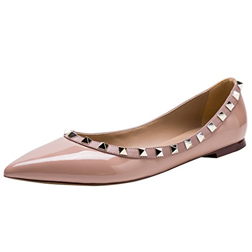 Toe Poudre Leather Studs Pointed Ballerina Flats Gold Kaitlyn Trim Pan Nude Studded Patent Tp0Ex