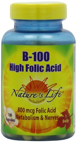 Nature's Life B--100 High Folic Acid, 100 Mg, 100 Capsules (Pack of 3) by Nature's Life