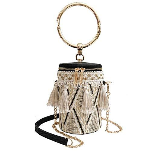 Women Handbags Retro Weave Feather Tassel Bucket Bag (Ladies Pocketbook Jewerly Case)