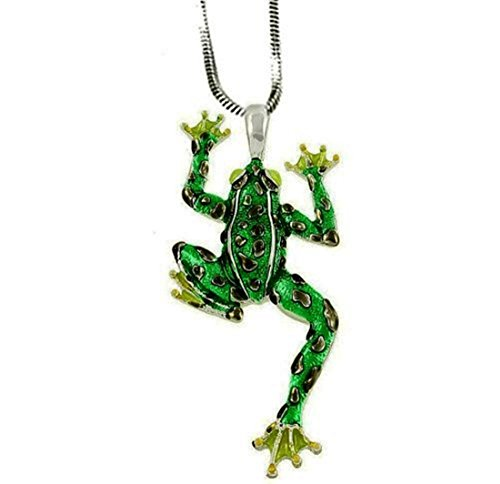 DianaL Boutique Green Frog Pendant Necklace with 24