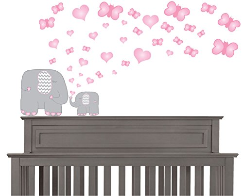 Safari Wallpaper Out Cut (Pink Butterflies and Hearts and Grey Elephant Wall Decals Stickers / Elephants Nursery Wall Decor)
