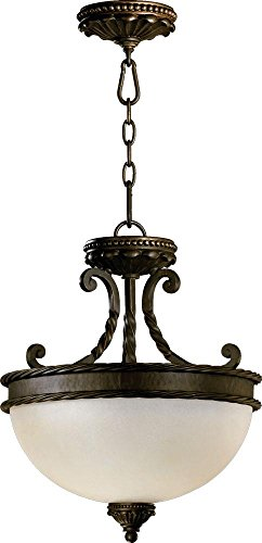 (Quorum 2886-15-86 Alameda - Two Light Semi-Flush Mount, Oiled Bronze Finish with Amber Scavo Glass )