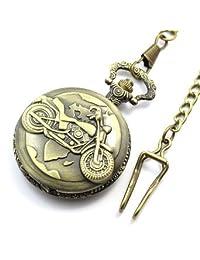 Biker Motorcycle Quartz Pocket Watch With Chain Quartz White Dial Arabic Numerals (Artisan Owl Gift Box)