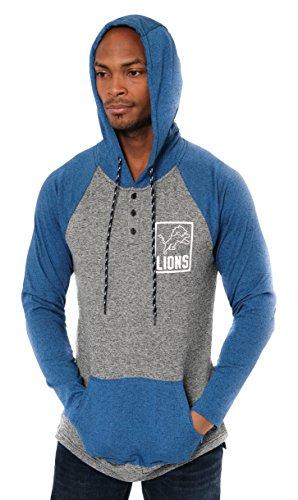 Detroit Lions Mens Sweatshirts - ICER Brands Adult Men Fleece Hoodie Pullover Sweatshirt Henley, Team Color, Royal, Large