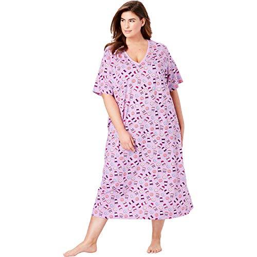 Dreams & Co. Women's Plus Size Long Print Sleepshirt - Light Orchid Coffee, 1X/2X