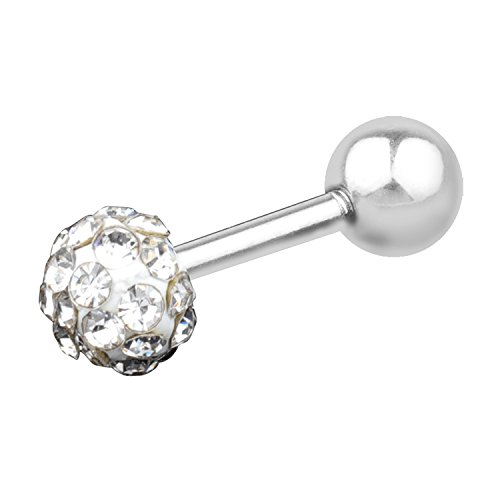 18G Unisex Surgical Stainless 4mm Cubic Zirconia