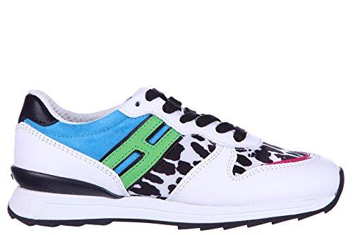 Hogan Rebel scarpe sneakers bambina pelle nuove r261 rebel animalier bianco