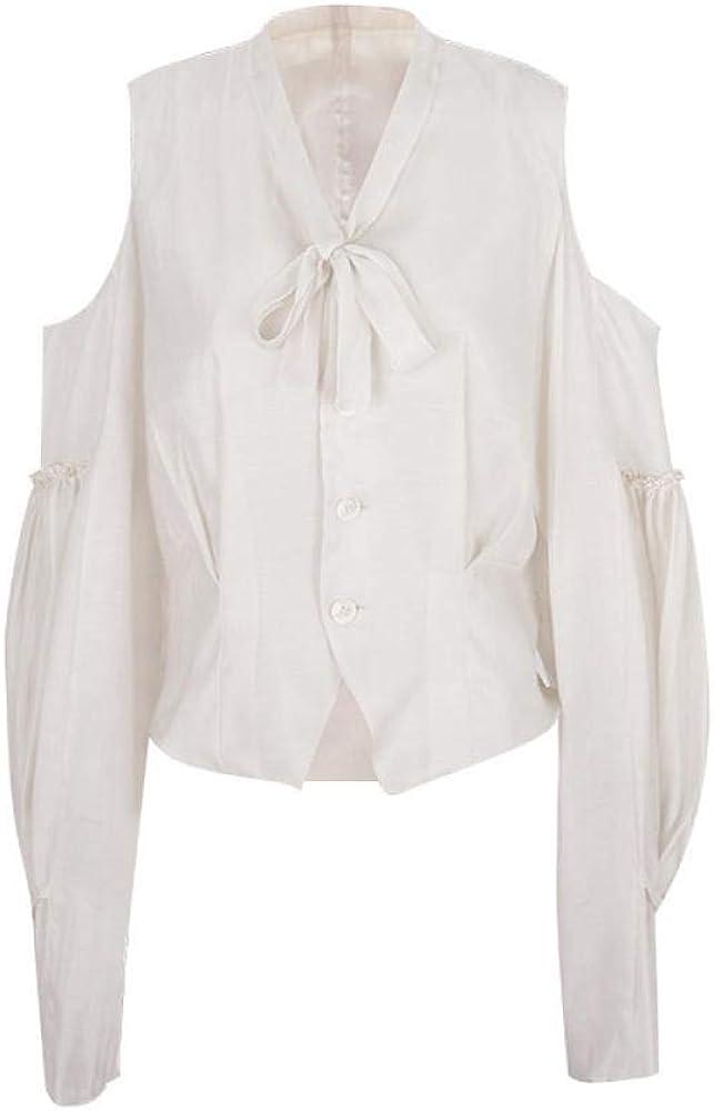 Blusas Y Camisas para Mujer Camisa Blanca Retro Camisa Blanca Mujer Verano Francés Manga Larga Fuera del Hombro @Fi: Amazon.es: Ropa y accesorios