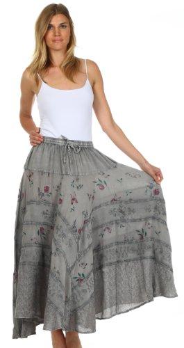 Sakkas 02311 Moon Dance Gypsy Boho Skirt - Charcoal - One Size Photo #3