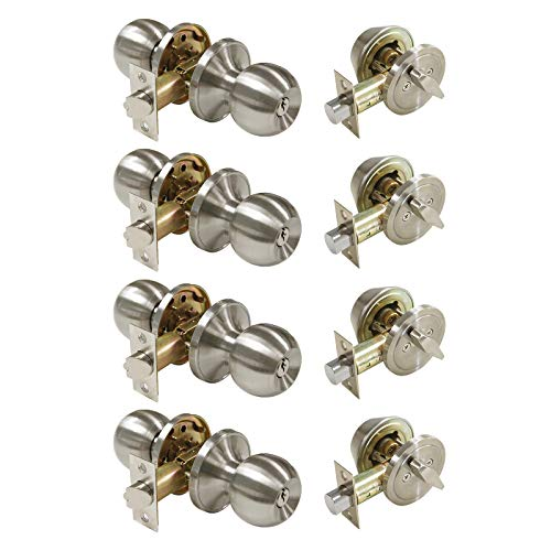 4 Pack Keyed Alike Entry Handlset with Single Cylinder Deadbolts Combo Pack, Satin Nickel Door Knob for Front and Entrance Door, Interior and Exterior Entry Door Levers Brushed Nickel