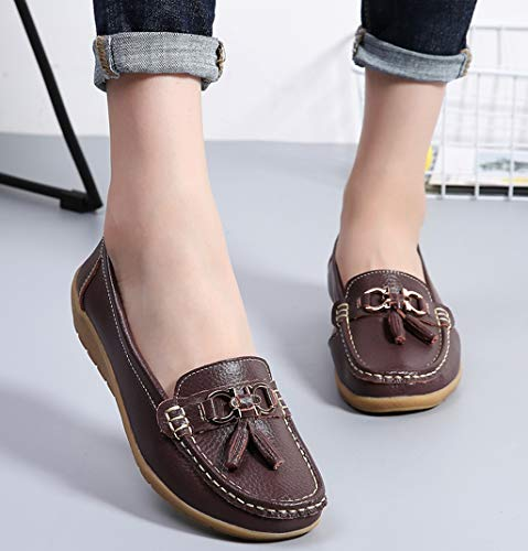 Shoes Cowhide Driving Women's Loafers 1 Leather Driving Brown Labato Casual Moccasin Flat fBAyq