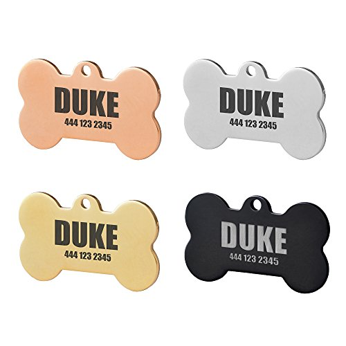 Bone Stainless Steel Pet ID Tags,Personalized Dog Tags for Free Engraving Both Side (Regular 1 1/2 x 1 inch, Gold) for $<!--$4.99-->