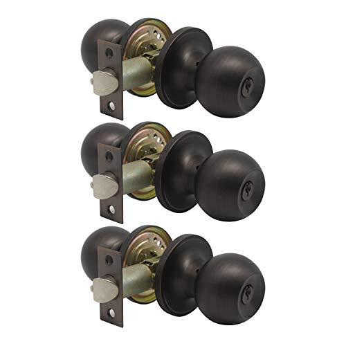 Key Entry Door Locks with Same Keys, Oil Rubbed Bronze Antique Ball Privacy Door Knob, Interior Exterior Door Handle for Storeroom/Bedroom/Bathroom Brown White Door, 3 Pack Matte Black 3 Pack