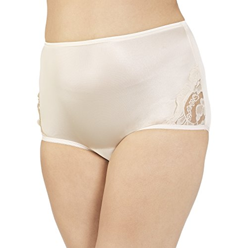 Vanity Fair Women's Plus Size Perfectly Yours Lace Nouveau Brief Panty 13001, Fawn, X-Large/8