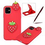 TPU Case for iPhone 11,Soft Rubber Cover for iPhone 11,Herzzer Ultra Slim Stylish 3D Strawberry Series Design Scratch Resistant Shock Absorbing Flexible Silicone Back Case