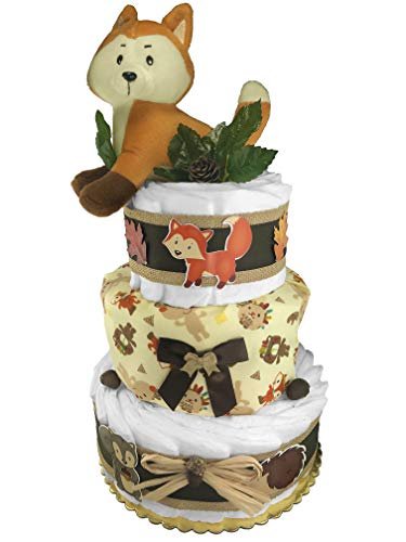 Woodland Creatures Diaper Cake - Baby Shower Gift - Gender N