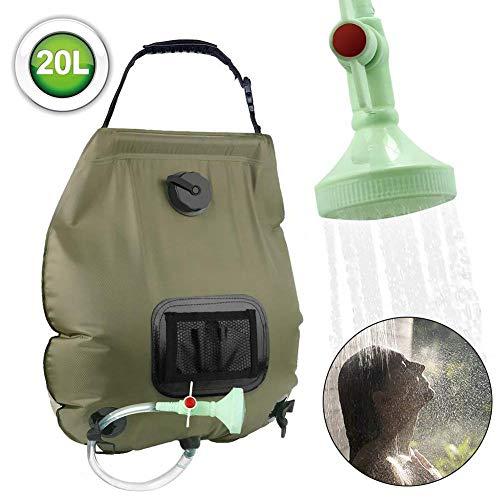 Elikliv 20L Shower Bag, Solar Energy Heated Water Bag Portable Camping Solar Heated Shower Head Outdoor Bathing Bag…