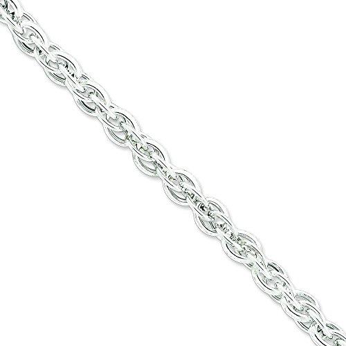 En argent 925 Bracelet de chaîne câble - 22 cm - 8.85 mm-Fermoir mousqueton-JewelryWeb