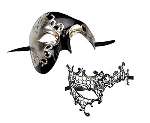 Yacanna His and Her Phantom of Opera Masquerade Masks Set Black (Phantom Set of 2) (Masquerade Mask For His And Her)