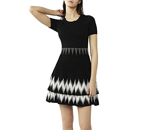 A Generation of European and American Women Slim was Thin Sweater Cake Dress,Black,