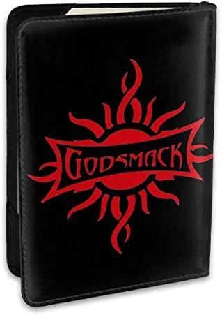 Godsmack ゴッドスマック ロゴ パスポートケース メンズ 男女兼用 パスポートカバー パスポート用カバー パスポートバッグ 小型 携帯便利 シンプル ポーチ 5.5インチ高級PUレザー 家族 国内海外旅行用品
