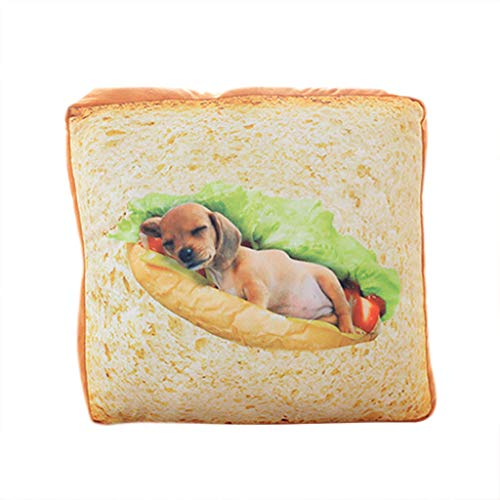 Vcenty Mat Creative Pet Mats Pillow Cushion Toast Bread Slice Style Soft Warm Mattress Bed for Cats & Dogs Home Bed Room Interior Decoration ()
